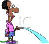 African American Woman Watering Her Yard clipart