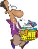 African American Man Carrying His Laundry  clipart