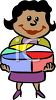 African American Businesswoman Holding a Pie Chart clipart