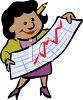 African American Businesswoman Reading a Graph clipart