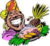 Island Woman Holding a Tray of Food clipart