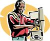 Old Negro Man Working in a Coffee House clipart