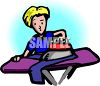 Boy Ironing a Pair of Pants clipart