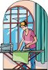 Woman Ironing Sheets clipart