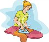 Girl Ironing a Shirt clipart
