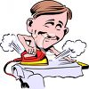 Caricature of a Man Ironing a Shirt clipart