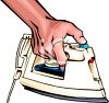 Realistic Style Hand Holding a Steam Iron clipart
