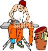 College Student Ironing His Clothes clipart