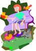 Woman Feeding Birds in the Park clipart