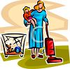 Young Mother Vacuuming Holding Her Child clipart