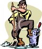 Cartoon of a Custodian Mopping a Floor clipart