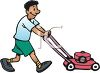 Boy Mowing the Lawn clipart