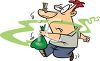 Cartoon of a Guy Taking Smelly Garbage Out clipart
