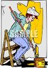 Woman Sitting on a Step Ladder Painting a Wall clipart