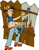 Man Staining a Fence clipart