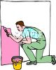 Man Kneeling While Painting a Wall clipart