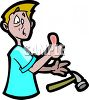 Cartoon of a Boy with a Smashed Thumb clipart