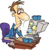 Cartoon of a Tired Man Working on His Computer clipart