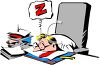 Cartoon of a Tired Businessman Sleeping on His Desk clipart