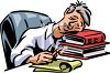 Cartoon of a Tired Office Worker Asleep on Books at His Desk clipart