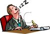 Business Cartoon of a Guy Asleep at His Desk clipart