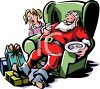 Cartoon of a Tired Santa Asleep in a Living Room clipart