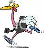 Cartoon of a Crazy Ostrich Running a Race clipart