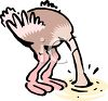 Ostrich Cartoon - Head Buried in the Sand clipart