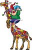 Cartoon of a Clown Riding a Giraffe clipart