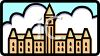 Cartoon Icon of Canuck Canada Parliment Building clipart