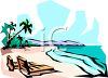 Lounge Chairs on a Tropical Beach clipart