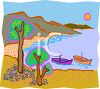 Boats in a Beach Cove clipart