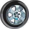 Car Tire with Fancy Rims clipart