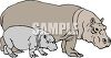 Mother Hippo and Her Calf clipart