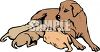 Brown Dog and Her Babies clipart