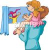 Girl on Her Dad's Shoulder Watching a Puppet Show clipart