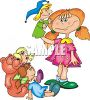 Little Girl Playing with Puppets and Dolls clipart