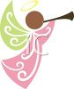 Ethnic Angel Blowing a Horn clipart
