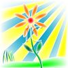 Flower Growing in Rays of Sunshine clipart