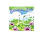 Grassy Hills with Clouds and Flowers clipart
