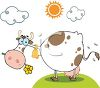 Cute Cartoon Cow with a Flower in Her Mouth clipart