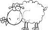 Cute Cartoon Sheep With a Flowers in His Mouth clipart