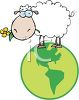 Cute Cartoon Sheep Standing on Top of the World clipart