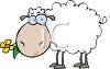 Cute Cartoon Sheep with a Flower in It's Mouth clipart