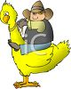 Cartoon Cowboy Riding a Huge Chicken clipart