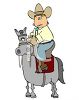 Cartoon Cowboy Riding a Small Horse clipart