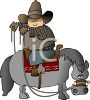 Cartoon Cowboy Riding a Horse Backward clipart