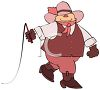 Gay Cartoon Cowboy Wearing Pink Holding a Whip clipart