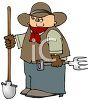 Cartoon Cowboy Holding Gardening Tools clipart