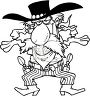 Black and White Cartoon of a Gunslinger clipart